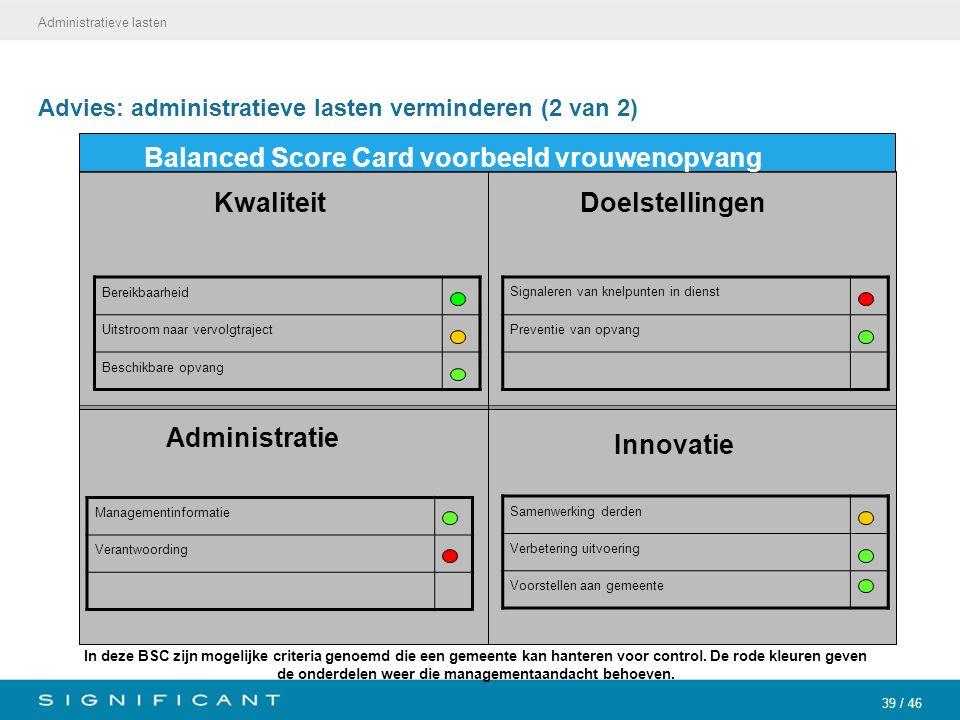 39 / 46 Advies: administratieve lasten verminderen (2 van 2) Administratieve lasten Balanced Score Card voorbeeld vrouwenopvang Administratie Manageme