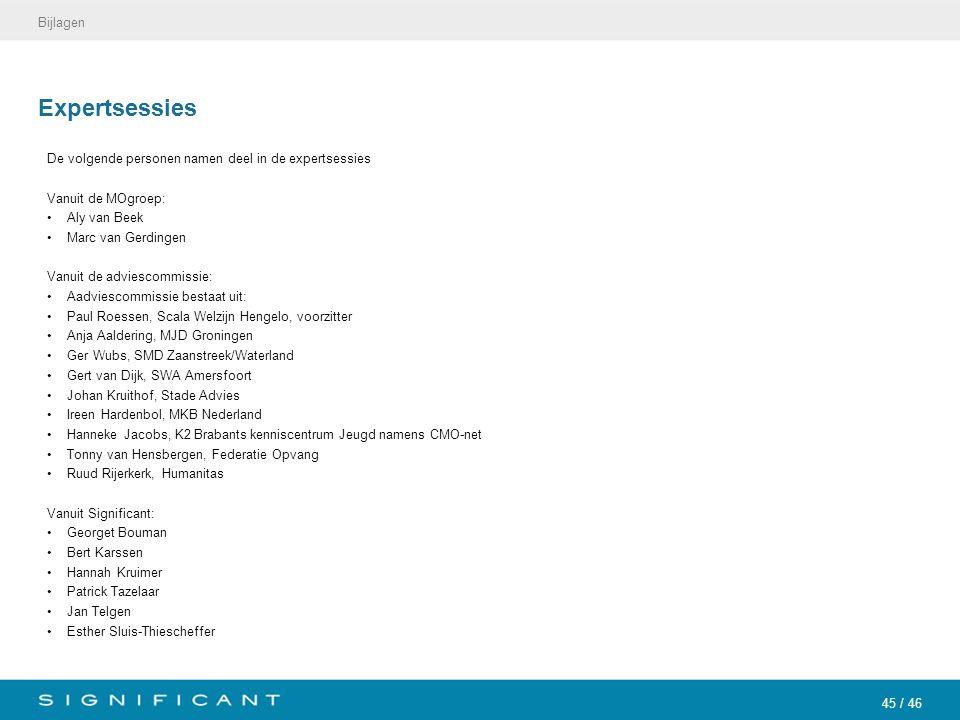 45 / 46 Expertsessies De volgende personen namen deel in de expertsessies Vanuit de MOgroep: Aly van Beek Marc van Gerdingen Vanuit de adviescommissie