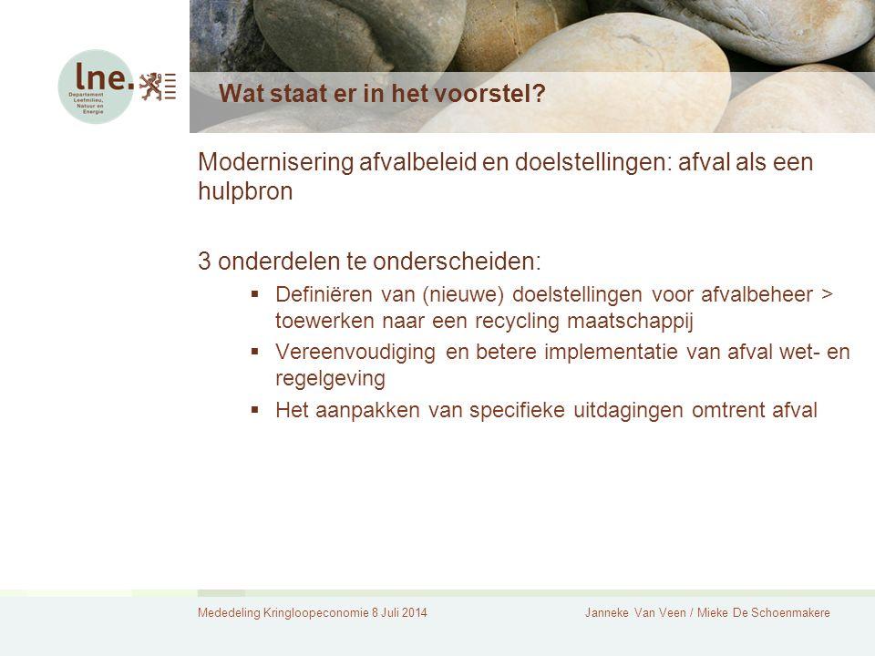 Mededeling Kringloopeconomie 8 Juli 2014Janneke Van Veen / Mieke De Schoenmakere Wat staat er in het voorstel? Modernisering afvalbeleid en doelstelli