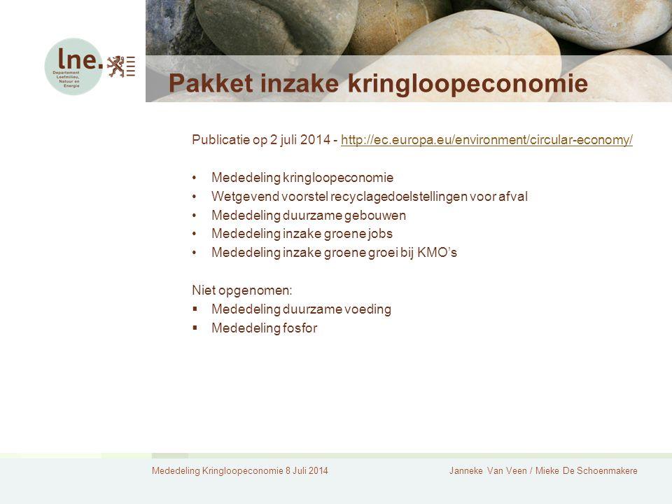 Mededeling Kringloopeconomie 8 Juli 2014Janneke Van Veen / Mieke De Schoenmakere Pakket inzake kringloopeconomie Publicatie op 2 juli 2014 - http://ec