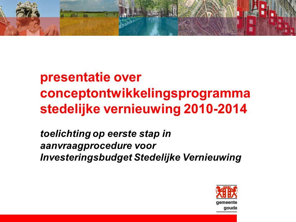 presentatie over conceptontwikkelingsprogramma stedelijke vernieuwing 2010-2014 toelichting op eerste stap in aanvraagprocedure voor Investeringsbudget Stedelijke Vernieuwing