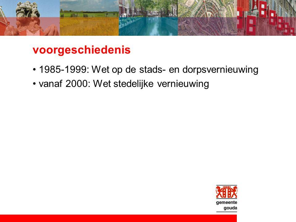 voorgeschiedenis 1985-1999: Wet op de stads- en dorpsvernieuwing vanaf 2000: Wet stedelijke vernieuwing