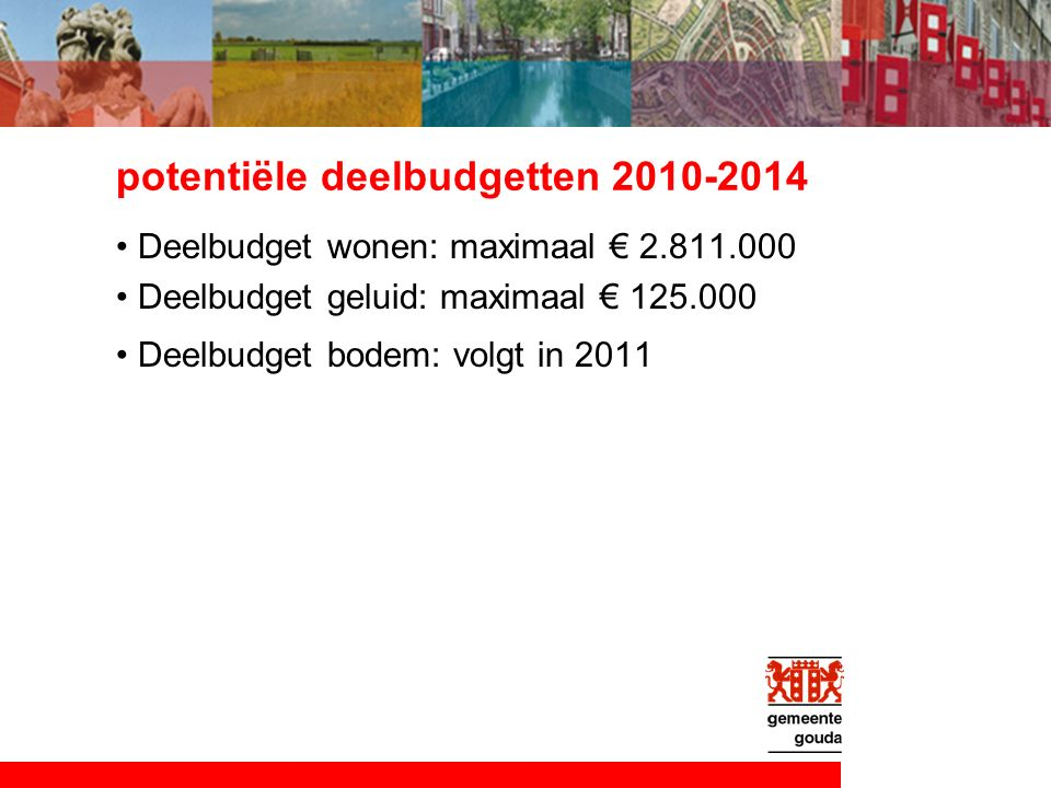 potentiële deelbudgetten 2010-2014 Deelbudget wonen: maximaal € 2.811.000 Deelbudget geluid: maximaal € 125.000 Deelbudget bodem: volgt in 2011