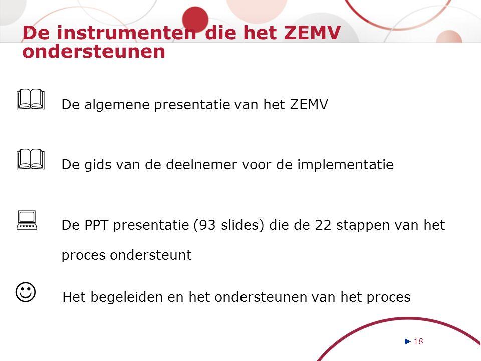 De instrumenten die het ZEMV ondersteunen  De algemene presentatie van het ZEMV  De gids van de deelnemer voor de implementatie  De PPT presentatie (93 slides) die de 22 stappen van het proces ondersteunt Het begeleiden en het ondersteunen van het proces  18