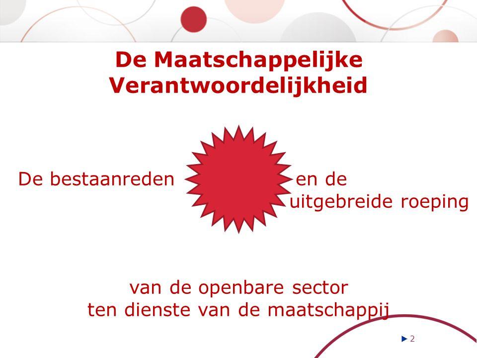  2 2 De Maatschappelijke Verantwoordelijkheid De bestaanreden en de uitgebreide roeping van de openbare sector ten dienste van de maatschappij