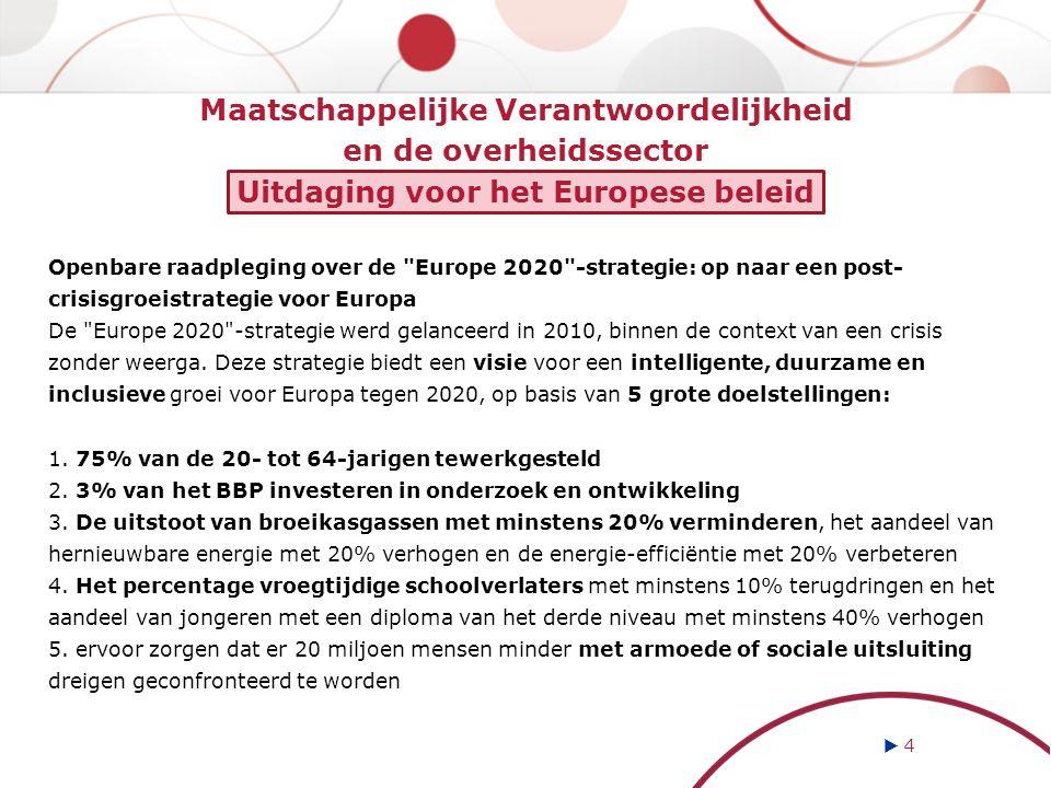 Maatschappelijke Verantwoordelijkheid en de overheidssector Uitdaging voor het Europese beleid Openbare raadpleging over de Europe 2020 -strategie: op naar een post- crisisgroeistrategie voor Europa De Europe 2020 -strategie werd gelanceerd in 2010, binnen de context van een crisis zonder weerga.