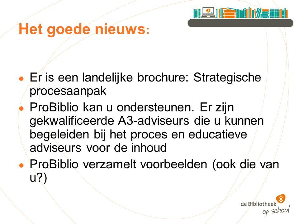 Het goede nieuws : ● Er is een landelijke brochure: Strategische procesaanpak ● ProBiblio kan u ondersteunen.