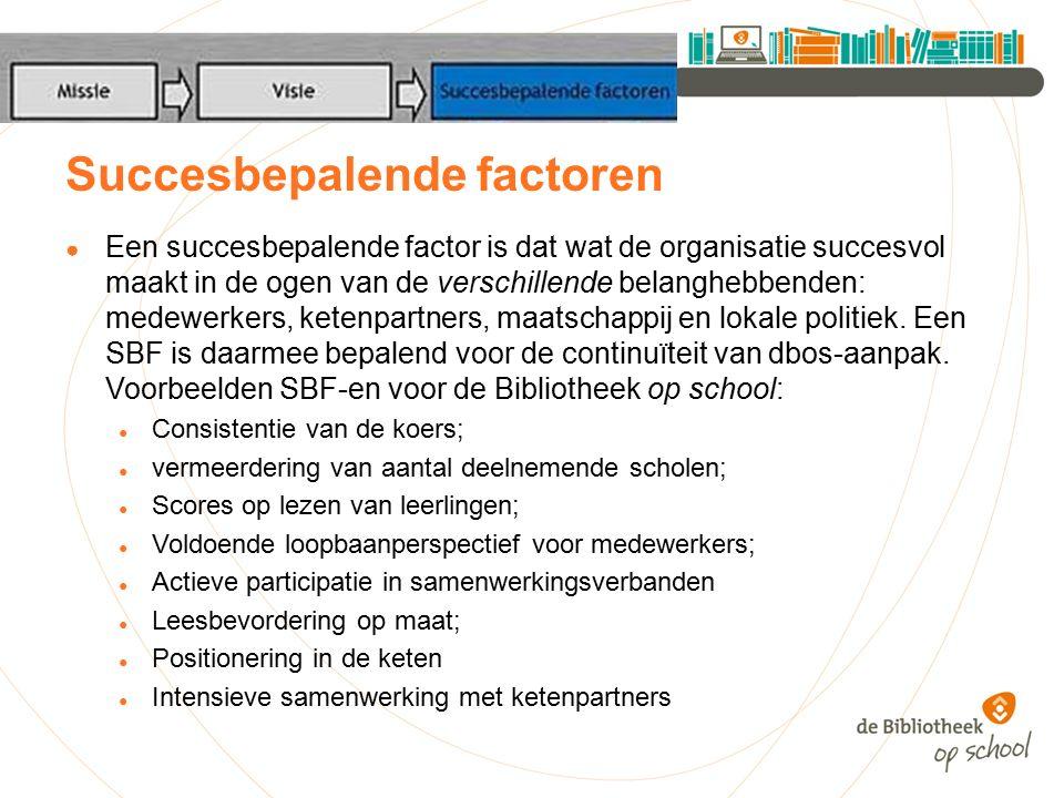 Succesbepalende factoren ● Een succesbepalende factor is dat wat de organisatie succesvol maakt in de ogen van de verschillende belanghebbenden: medewerkers, ketenpartners, maatschappij en lokale politiek.