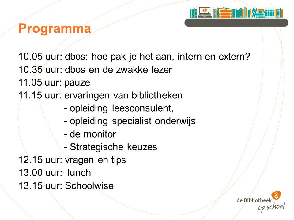 Programma 10.05 uur: dbos: hoe pak je het aan, intern en extern.