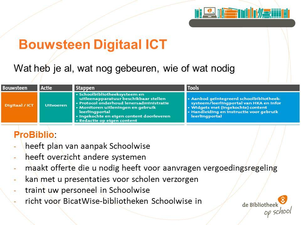 Bouwsteen Digitaal ICT Wat heb je al, wat nog gebeuren, wie of wat nodig ProBiblio: - heeft plan van aanpak Schoolwise - heeft overzicht andere systemen - maakt offerte die u nodig heeft voor aanvragen vergoedingsregeling - kan met u presentaties voor scholen verzorgen - traint uw personeel in Schoolwise - richt voor BicatWise-bibliotheken Schoolwise in