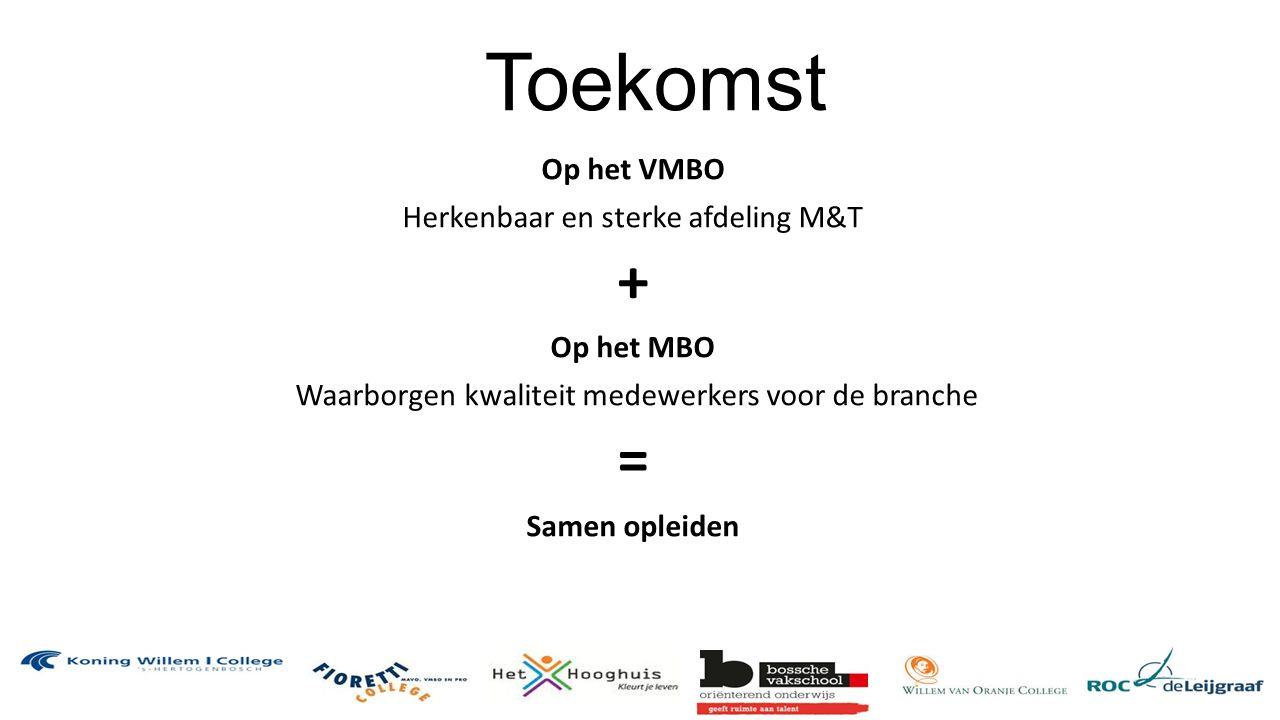 Toekomst Op het VMBO Herkenbaar en sterke afdeling M&T + Op het MBO Waarborgen kwaliteit medewerkers voor de branche = Samen opleiden