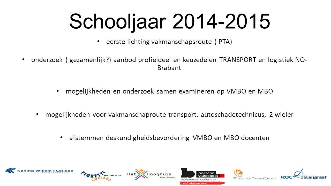 Schooljaar 2014-2015 eerste lichting vakmanschapsroute ( PTA) onderzoek ( gezamenlijk?) aanbod profieldeel en keuzedelen TRANSPORT en logistiek NO- Brabant mogelijkheden en onderzoek samen examineren op VMBO en MBO mogelijkheden voor vakmanschaproute transport, autoschadetechnicus, 2 wieler afstemmen deskundigheidsbevordering VMBO en MBO docenten