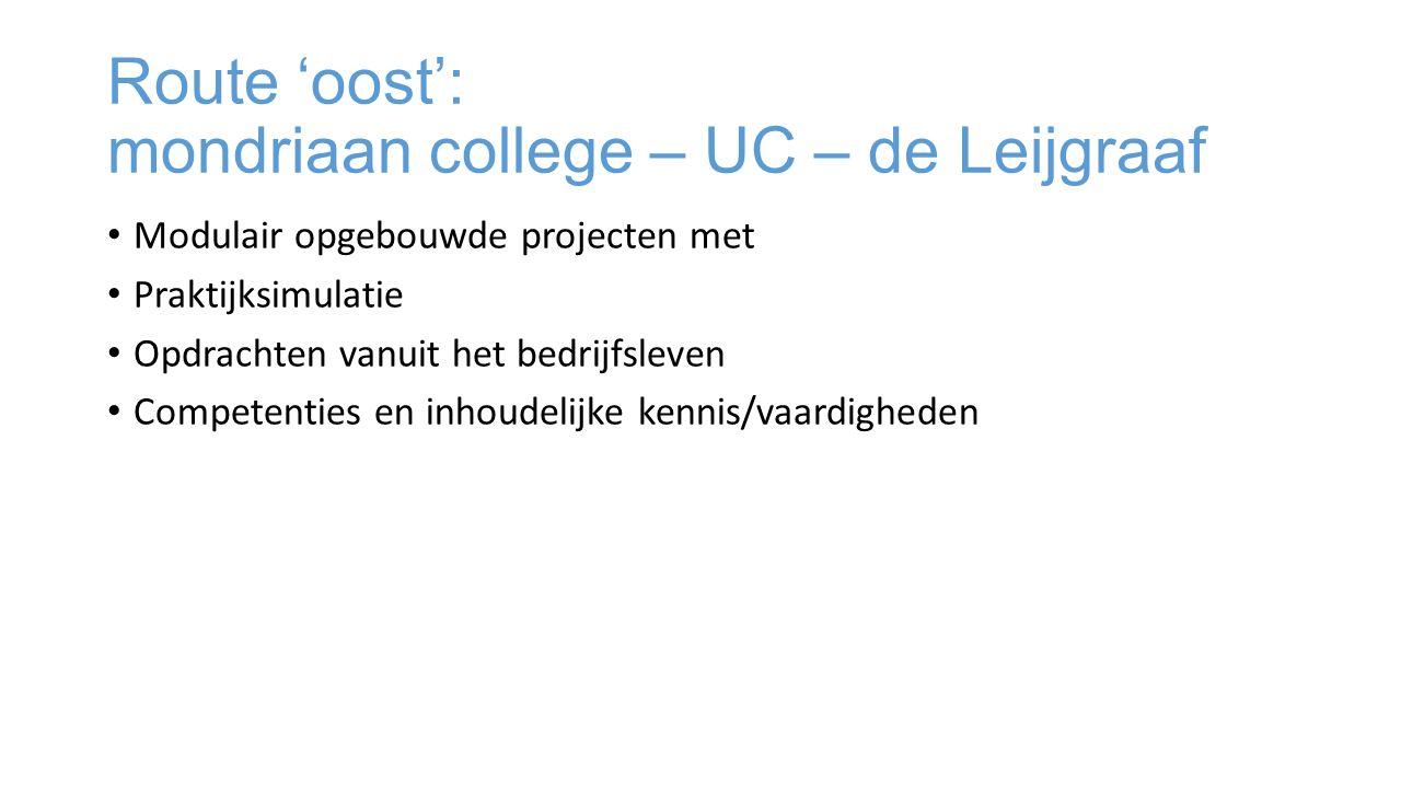 Route 'oost': mondriaan college – UC – de Leijgraaf Modulair opgebouwde projecten met Praktijksimulatie Opdrachten vanuit het bedrijfsleven Competenties en inhoudelijke kennis/vaardigheden
