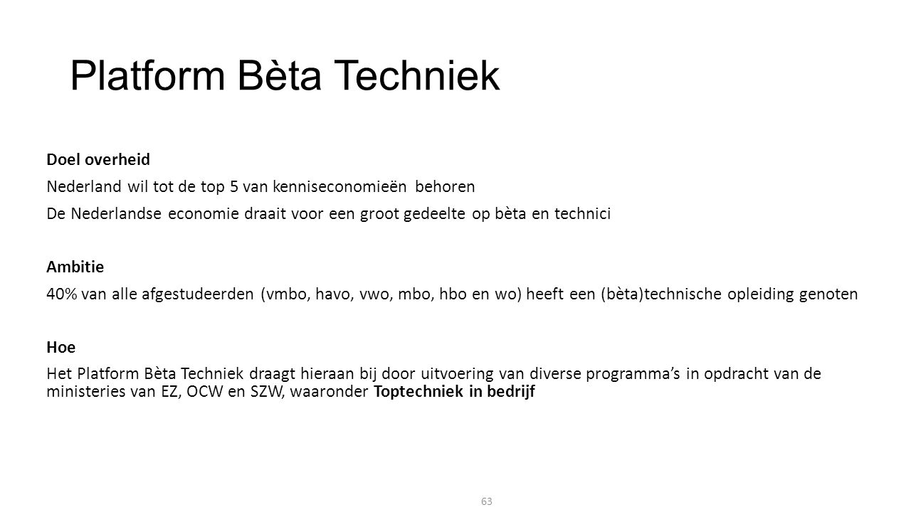 Platform Bèta Techniek Doel overheid Nederland wil tot de top 5 van kenniseconomieën behoren De Nederlandse economie draait voor een groot gedeelte op bèta en technici Ambitie 40% van alle afgestudeerden (vmbo, havo, vwo, mbo, hbo en wo) heeft een (bèta)technische opleiding genoten Hoe Het Platform Bèta Techniek draagt hieraan bij door uitvoering van diverse programma's in opdracht van de ministeries van EZ, OCW en SZW, waaronder Toptechniek in bedrijf 63