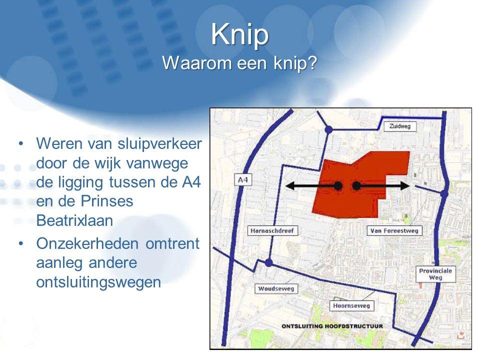 Knip Waarom een knip? Weren van sluipverkeer door de wijk vanwege de ligging tussen de A4 en de Prinses Beatrixlaan Onzekerheden omtrent aanleg andere