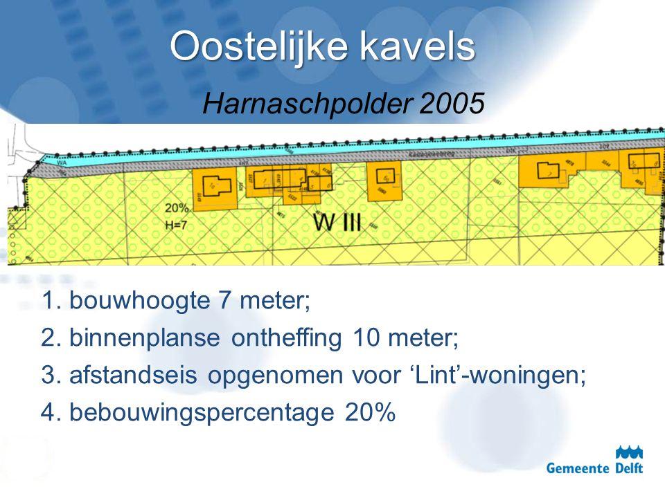 Oostelijke kavels 1. bouwhoogte 7 meter; 2. binnenplanse ontheffing 10 meter; 3. afstandseis opgenomen voor 'Lint'-woningen; 4. bebouwingspercentage 2
