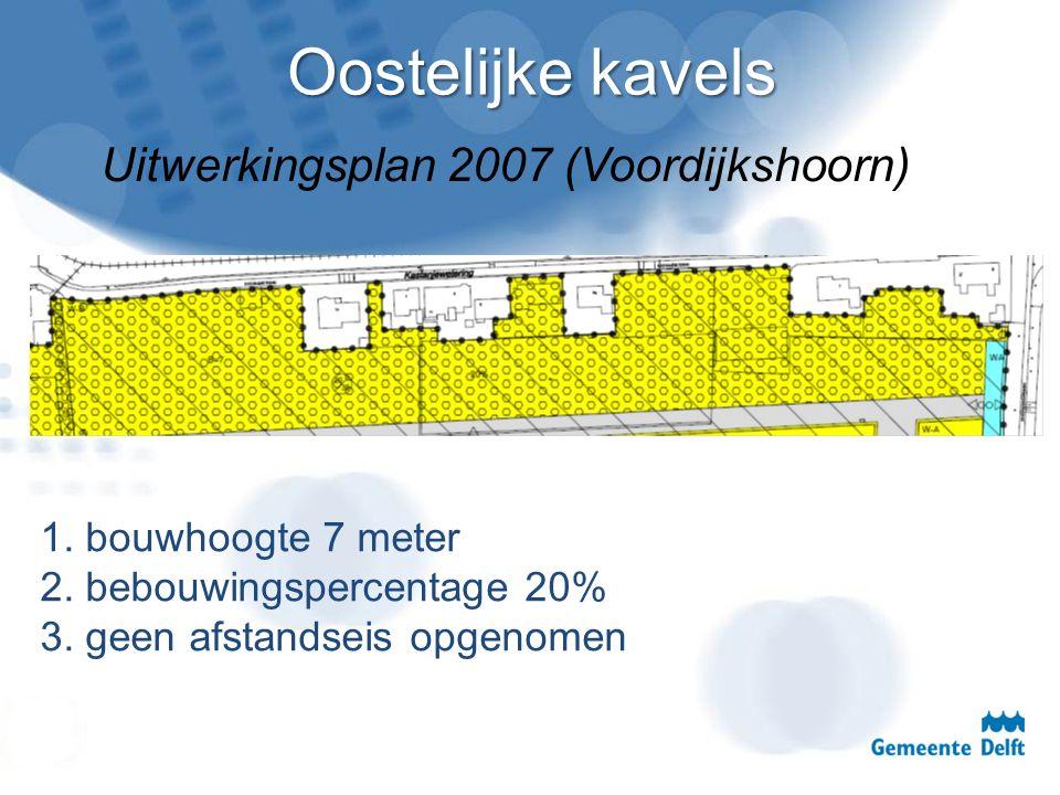 Oostelijke kavels Uitwerkingsplan 2007 (Voordijkshoorn) 1. bouwhoogte 7 meter 2. bebouwingspercentage 20% 3. geen afstandseis opgenomen