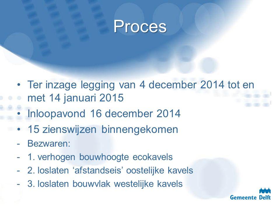 Proces Ter inzage legging van 4 december 2014 tot en met 14 januari 2015 Inloopavond 16 december 2014 15 zienswijzen binnengekomen -Bezwaren: -1. verh