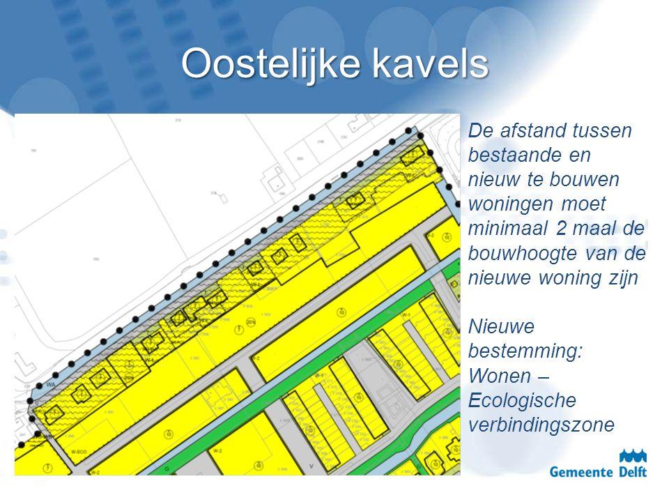 Oostelijke kavels De afstand tussen bestaande en nieuw te bouwen woningen moet minimaal 2 maal de bouwhoogte van de nieuwe woning zijn Nieuwe bestemmi