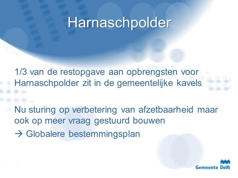 Harnaschpolder 1/3 van de restopgave aan opbrengsten voor Harnaschpolder zit in de gemeentelijke kavels Nu sturing op verbetering van afzetbaarheid ma