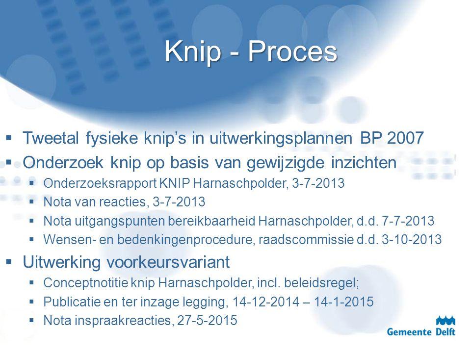 Knip - Proces  Tweetal fysieke knip's in uitwerkingsplannen BP 2007  Onderzoek knip op basis van gewijzigde inzichten  Onderzoeksrapport KNIP Harna