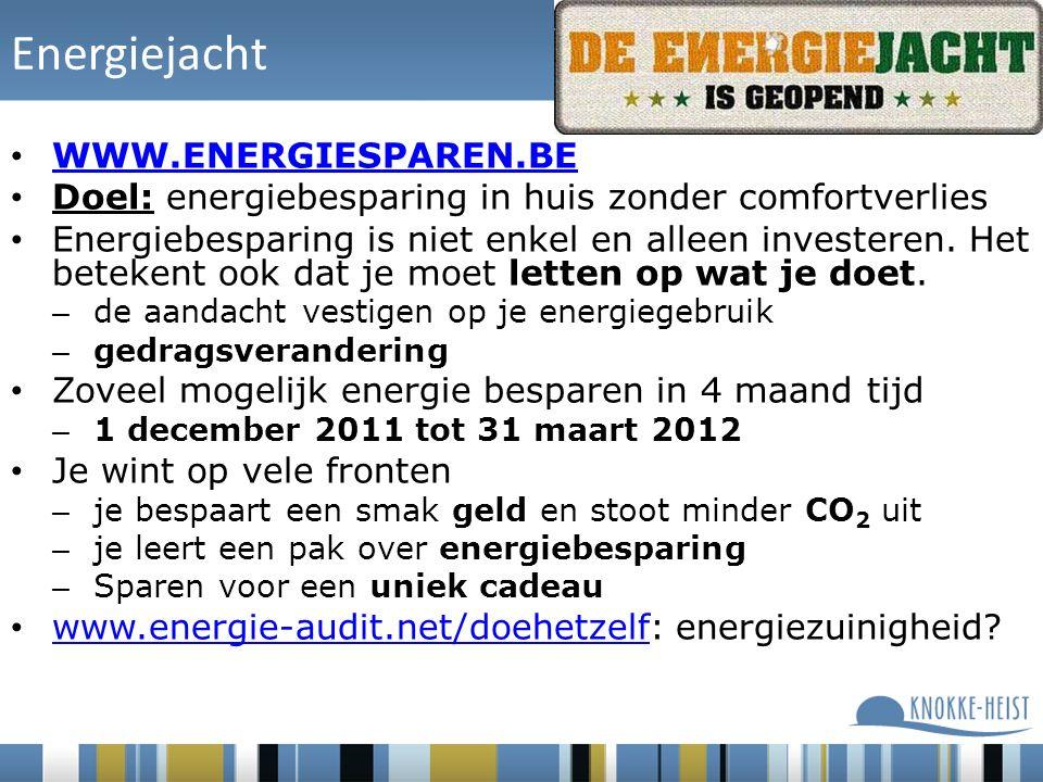 Energiejacht WWW.ENERGIESPAREN.BE Doel: energiebesparing in huis zonder comfortverlies Energiebesparing is niet enkel en alleen investeren.