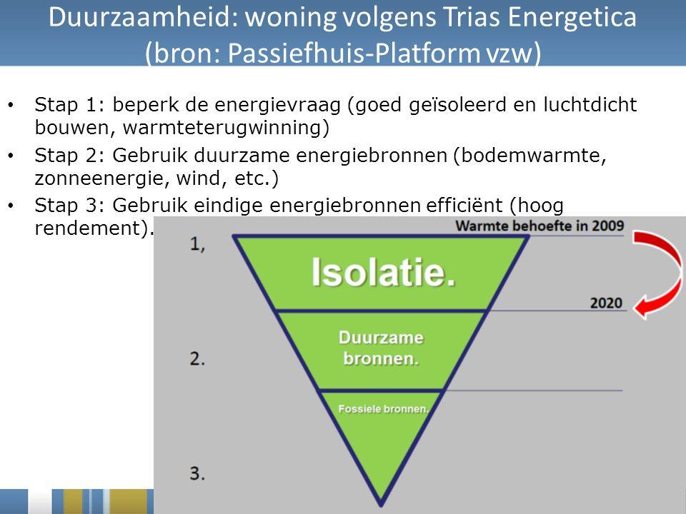 Duurzaamheid: woning volgens Trias Energetica (bron: Passiefhuis-Platform vzw) Stap 1: beperk de energievraag (goed geïsoleerd en luchtdicht bouwen, warmteterugwinning) Stap 2: Gebruik duurzame energiebronnen (bodemwarmte, zonneenergie, wind, etc.) Stap 3: Gebruik eindige energiebronnen efficiënt (hoog rendement).