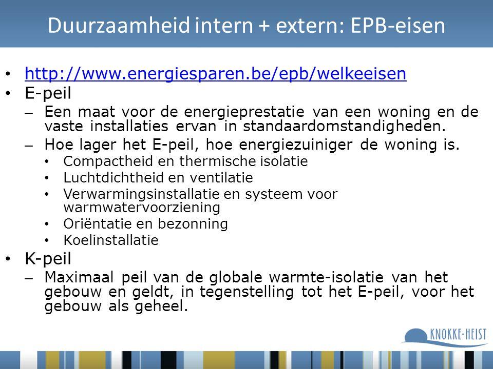 Duurzaamheid intern + extern: EPB-eisen http://www.energiesparen.be/epb/welkeeisen E-peil – Een maat voor de energieprestatie van een woning en de vaste installaties ervan in standaardomstandigheden.