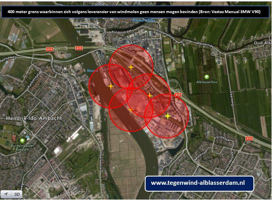 400 meter grens waarbinnen zich volgens leverancier van windmolen geen mensen mogen bevinden (Bron: Vestas Manual 3MW V90) www.tegenwind-alblasserdam.nl