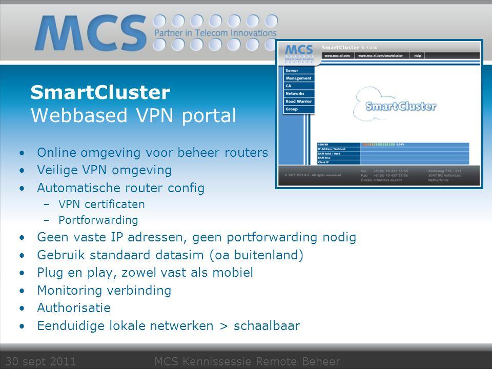 30 sept 2011 MCS Kennissessie Remote Beheer SmartCluster Webbased VPN portal Online omgeving voor beheer routers Veilige VPN omgeving Automatische rou