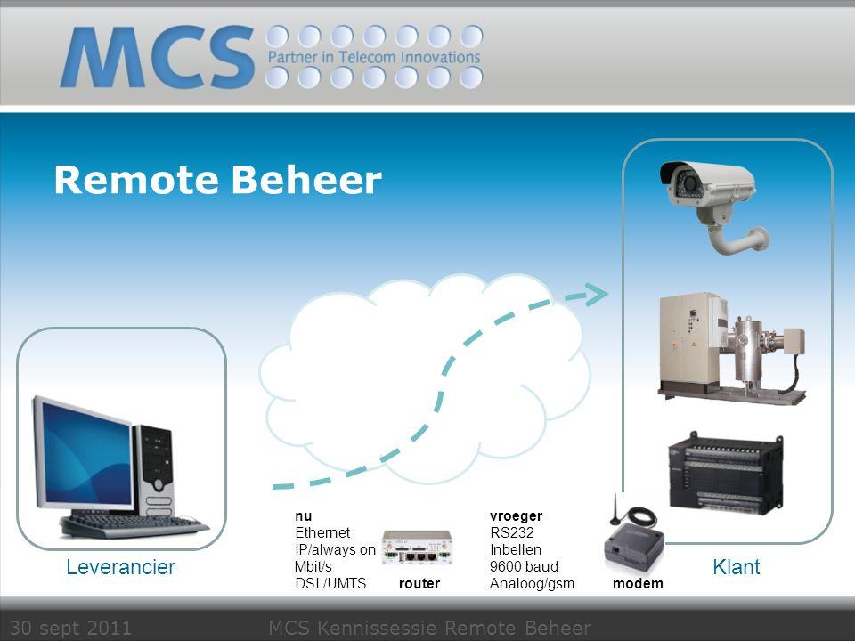 30 sept 2011 MCS Kennissessie Remote Beheer Conel routers Dragers Mobiel GPRS, EdgeER75i 86Kbps HSDPAUR5386Kpbs/3,6Mbps HSUPAUR5i5,7Mbps/21,1Mbps Vaste netwerk LANXR5i2 * ETH