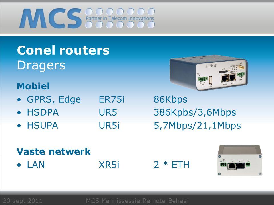 30 sept 2011 MCS Kennissessie Remote Beheer Conel routers Dragers Mobiel GPRS, EdgeER75i 86Kbps HSDPAUR5386Kpbs/3,6Mbps HSUPAUR5i5,7Mbps/21,1Mbps Vast
