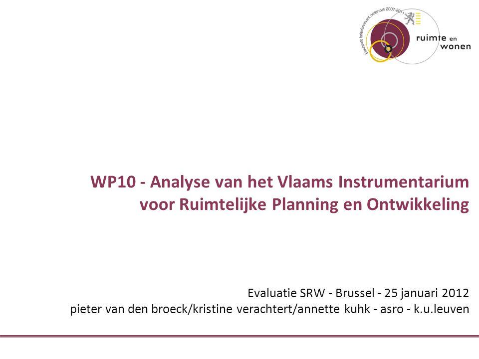 WP10 - Analyse van het Vlaams Instrumentarium voor Ruimtelijke Planning en Ontwikkeling Evaluatie SRW - Brussel - 25 januari 2012 pieter van den broeck/kristine verachtert/annette kuhk - asro - k.u.leuven