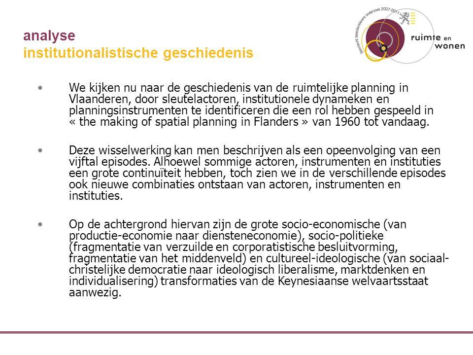 analyse institutionalistische geschiedenis We kijken nu naar de geschiedenis van de ruimtelijke planning in Vlaanderen, door sleutelactoren, institutionele dynameken en planningsinstrumenten te identificeren die een rol hebben gespeeld in « the making of spatial planning in Flanders » van 1960 tot vandaag.