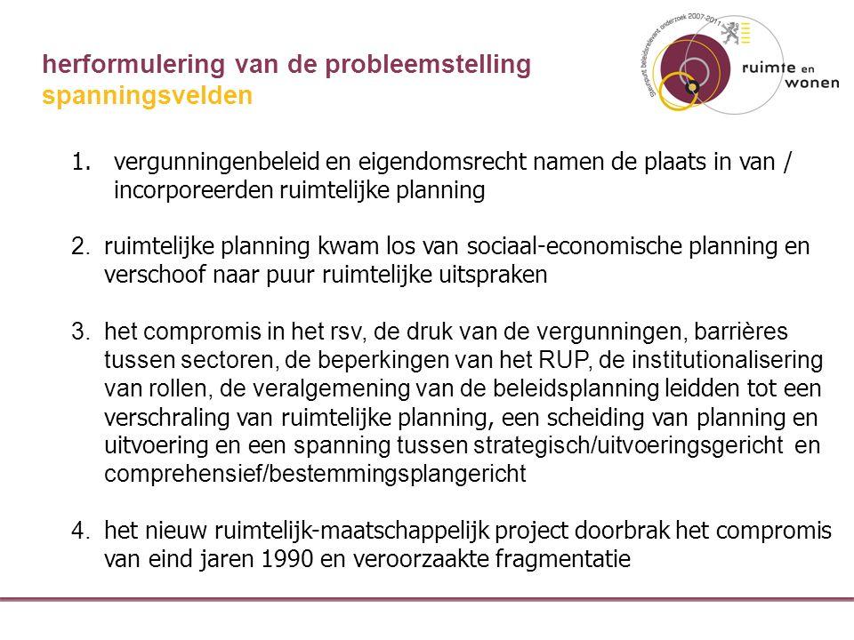 herformulering van de probleemstelling 1.vergunningenbeleid en eigendomsrecht namen de plaats in van / incorporeerden ruimtelijke planning 2.
