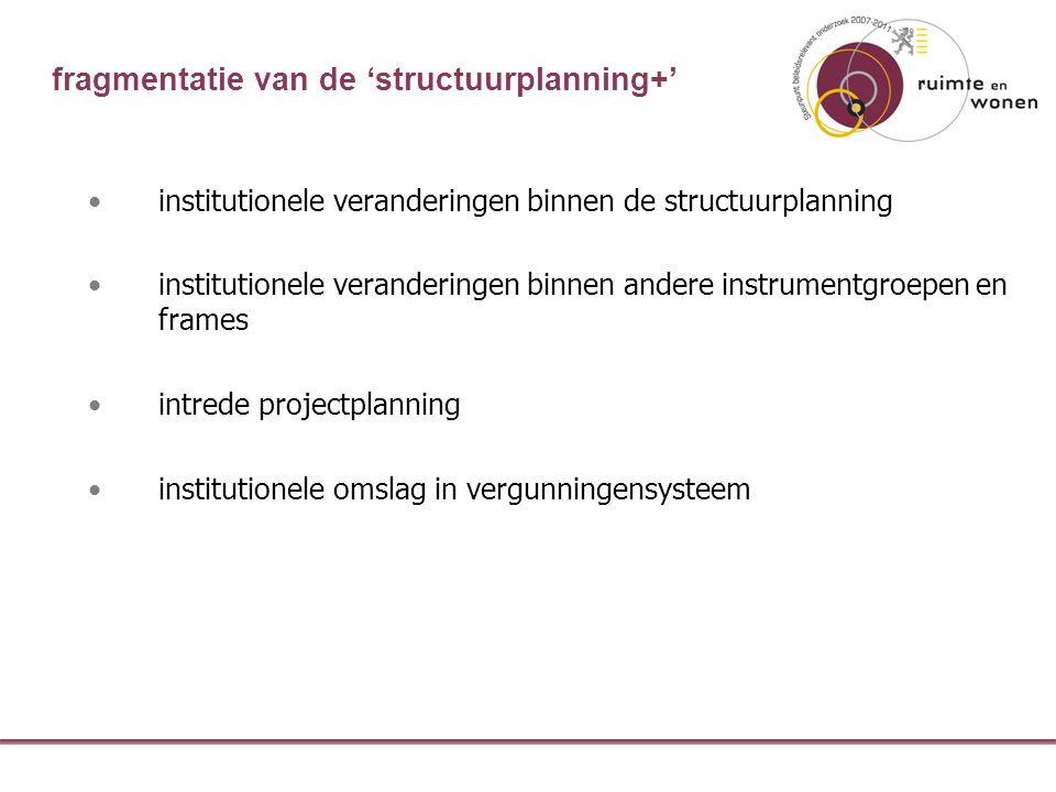 fragmentatie van de 'structuurplanning+' institutionele veranderingen binnen de structuurplanning institutionele veranderingen binnen andere instrumentgroepen en frames intrede projectplanning institutionele omslag in vergunningensysteem