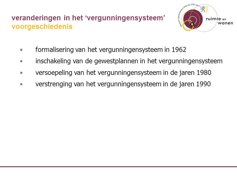 veranderingen in het 'vergunningensysteem' formalisering van het vergunningensysteem in 1962 inschakeling van de gewestplannen in het vergunningensysteem versoepeling van het vergunningensysteem in de jaren 1980 verstrenging van het vergunningensysteem in de jaren 1990 voorgeschiedenis