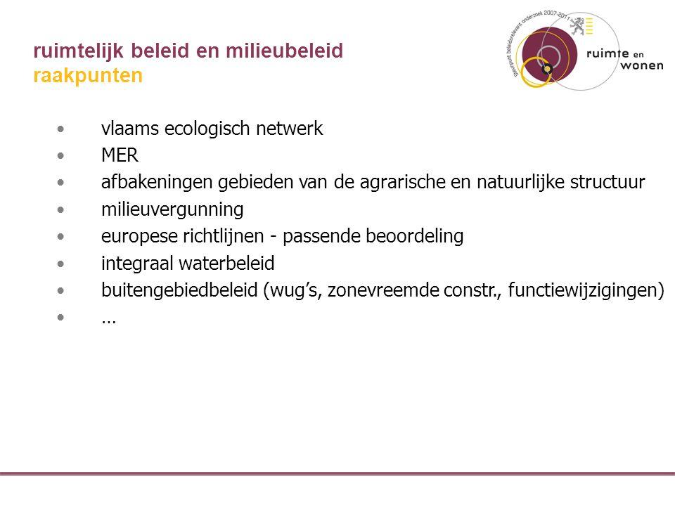 ruimtelijk beleid en milieubeleid vlaams ecologisch netwerk MER afbakeningen gebieden van de agrarische en natuurlijke structuur milieuvergunning europese richtlijnen - passende beoordeling integraal waterbeleid buitengebiedbeleid (wug's, zonevreemde constr., functiewijzigingen) … raakpunten