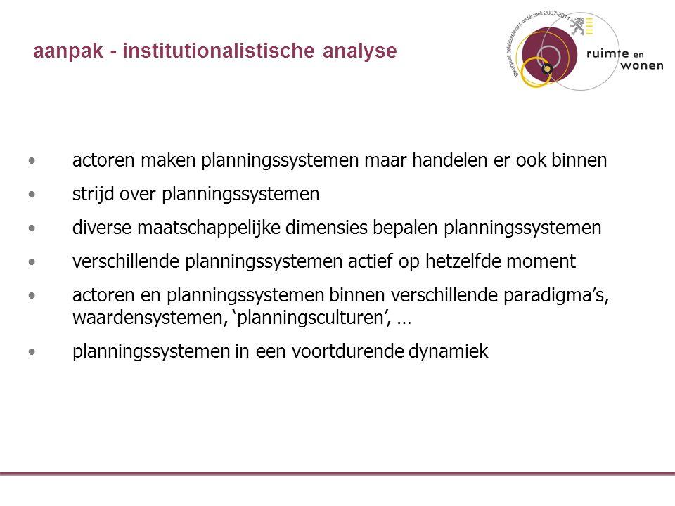 actoren maken planningssystemen maar handelen er ook binnen strijd over planningssystemen diverse maatschappelijke dimensies bepalen planningssystemen verschillende planningssystemen actief op hetzelfde moment actoren en planningssystemen binnen verschillende paradigma's, waardensystemen, 'planningsculturen', … planningssystemen in een voortdurende dynamiek aanpak - institutionalistische analyse