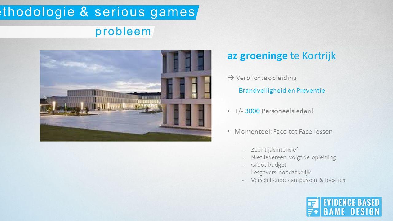 az groeninge te Kortrijk  Verplichte opleiding Brandveiligheid en Preventie +/- 3000 Personeelsleden.