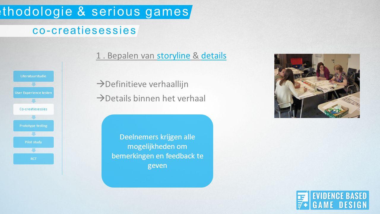 1. Bepalen van storyline & details  Definitieve verhaallijn  Details binnen het verhaal Deelnemers krijgen alle mogelijkheden om bemerkingen en feed