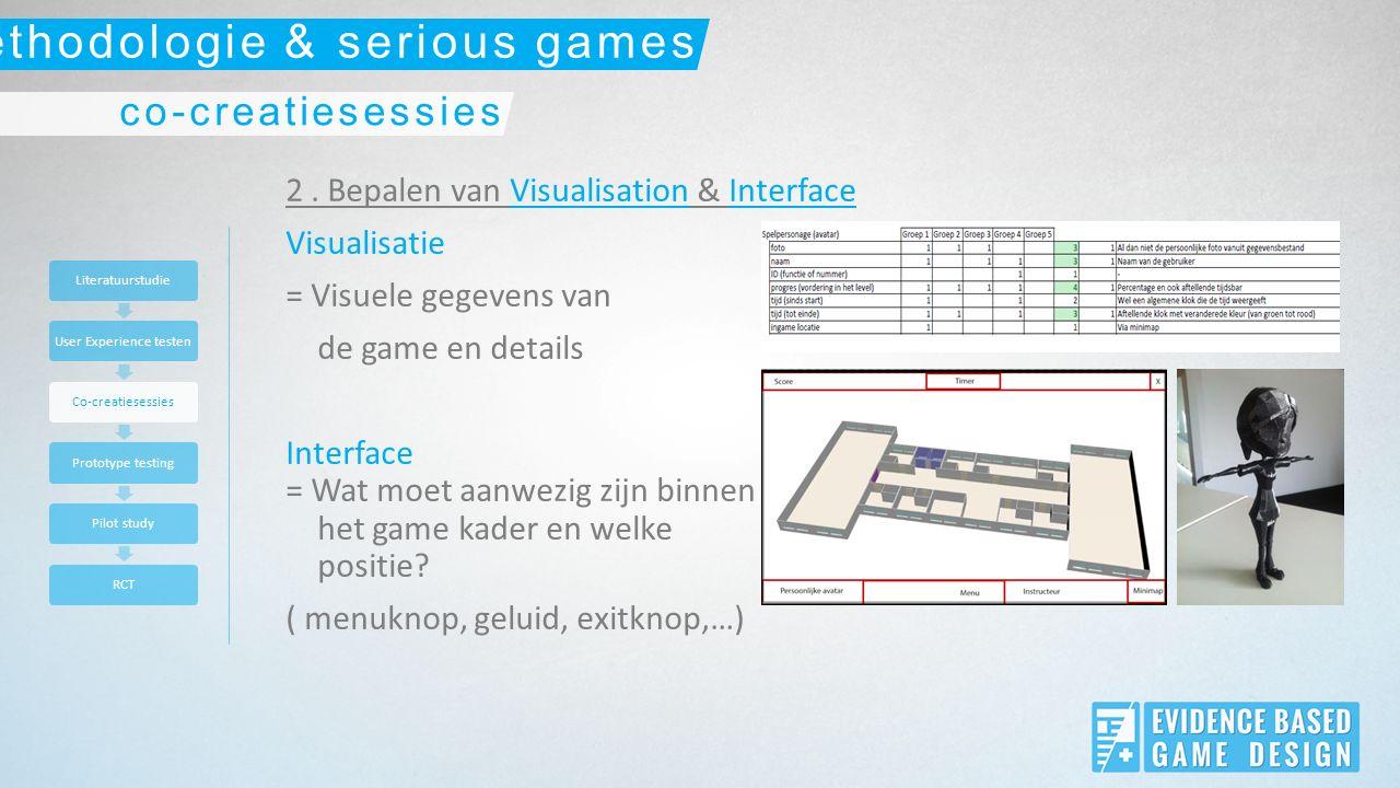 2. Bepalen van Visualisation & Interface Visualisatie = Visuele gegevens van de game en details Interface = Wat moet aanwezig zijn binnen het game kad