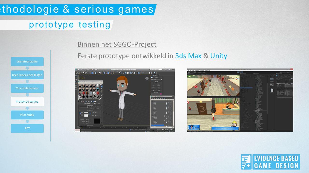 Binnen het SGGO-Project Eerste prototype ontwikkeld in 3ds Max & Unity LiteratuurstudieUser Experience testenCo-creatiesessiesPrototype testingPilot studyRCT prototype testing methodologie & serious games