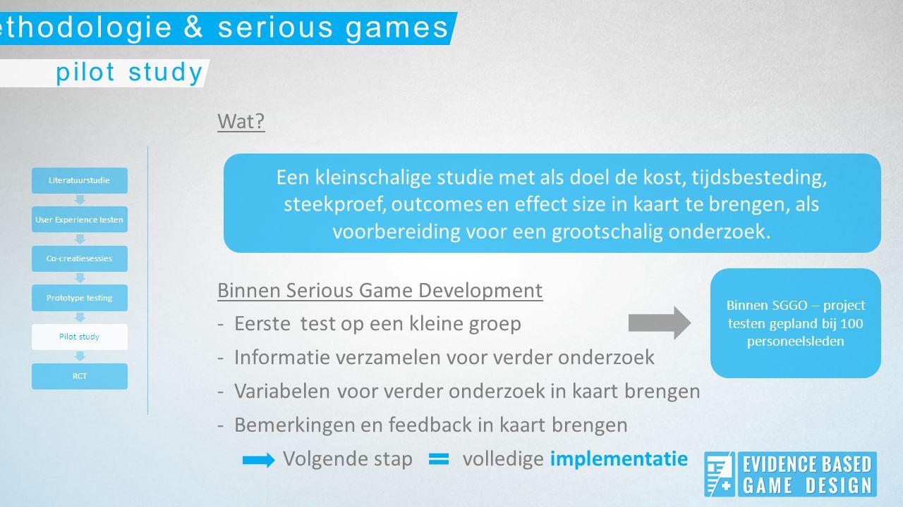 Wat? Binnen Serious Game Development -Eerste test op een kleine groep -Informatie verzamelen voor verder onderzoek -Variabelen voor verder onderzoek i