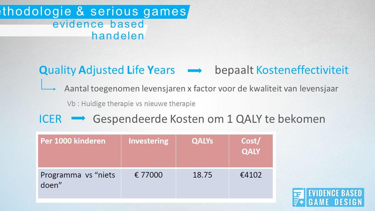 Maatschappelijke grens evidence based handelen methodologie & serious games Indien ICER groter dan €40000/QALY  Verwerping nieuwe therapie, interventie, medicatie,…
