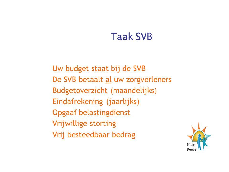 Taak SVB Uw budget staat bij de SVB De SVB betaalt al uw zorgverleners Budgetoverzicht (maandelijks) Eindafrekening (jaarlijks) Opgaaf belastingdienst Vrijwillige storting Vrij besteedbaar bedrag