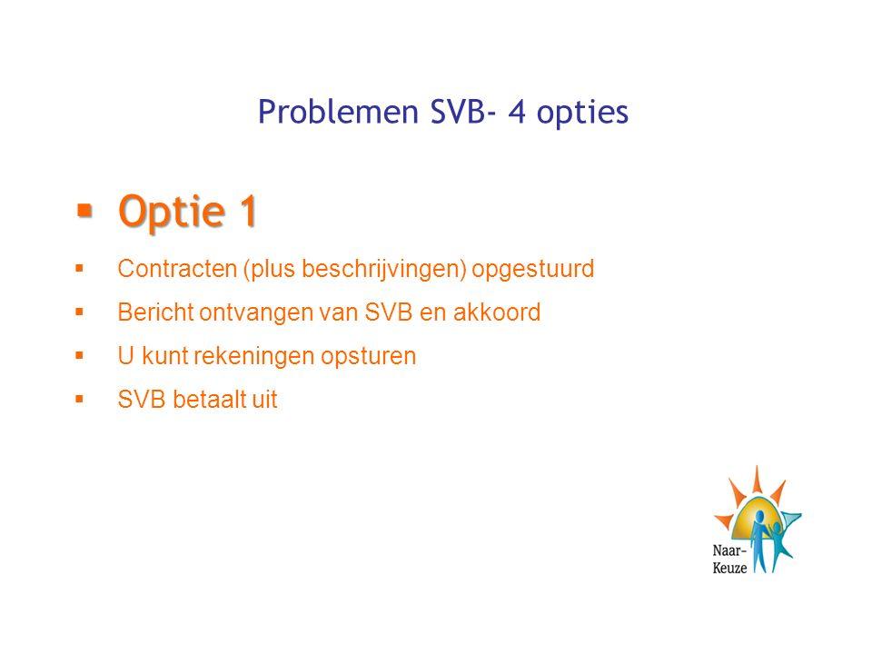 Problemen SVB- 4 opties  Optie 1  Contracten (plus beschrijvingen) opgestuurd  Bericht ontvangen van SVB en akkoord  U kunt rekeningen opsturen  SVB betaalt uit