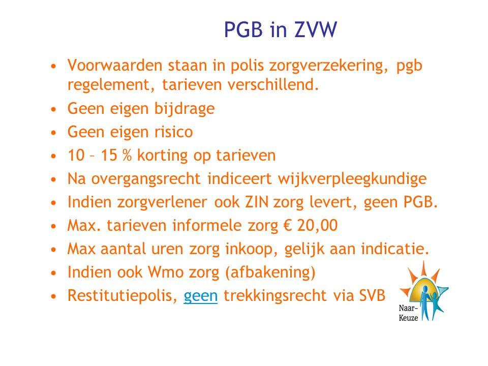PGB in ZVW Voorwaarden staan in polis zorgverzekering, pgb regelement, tarieven verschillend.
