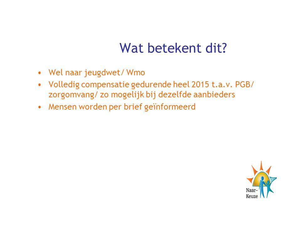 Wat betekent dit. Wel naar jeugdwet/ Wmo Volledig compensatie gedurende heel 2015 t.a.v.