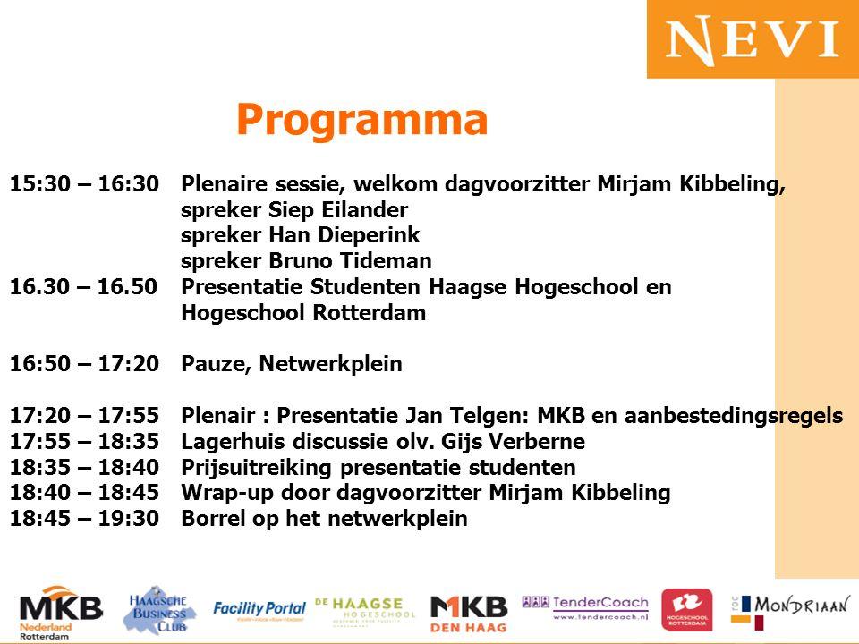 HET KENNISNETWERK VOOR INKOOP EN SUPPLY MANAGEMENT 15:30 – 16:30Plenaire sessie, welkom dagvoorzitter Mirjam Kibbeling, spreker Siep Eilander spreker